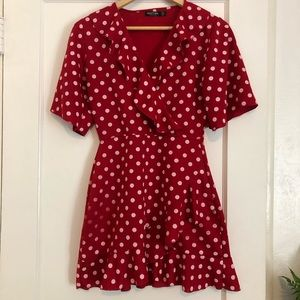 Red Polka Dot Ruffle Dress